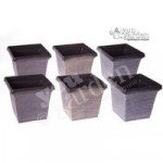 Set of 6 square outdoor planters 17.5cm metallic look