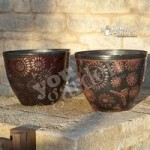 Pair of 12 30cm diameter Copper effect outdoor planters