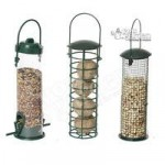 Set of 3 Pre-filled bird feeders – seed, peanuts & fatballs